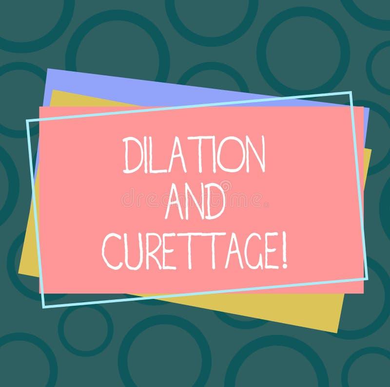 Dilatação e curetagem do texto da escrita Procedimento do significado do conceito para remover o tecido do interior de sua pilha  ilustração do vetor