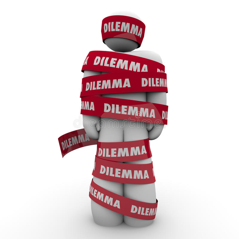 Dilemma Problem Trouble Man Wrapped in Word Tape. Dilemma word on red taped wrapped around a man or person to illustrate being caught or trapped in a problem royalty free illustration