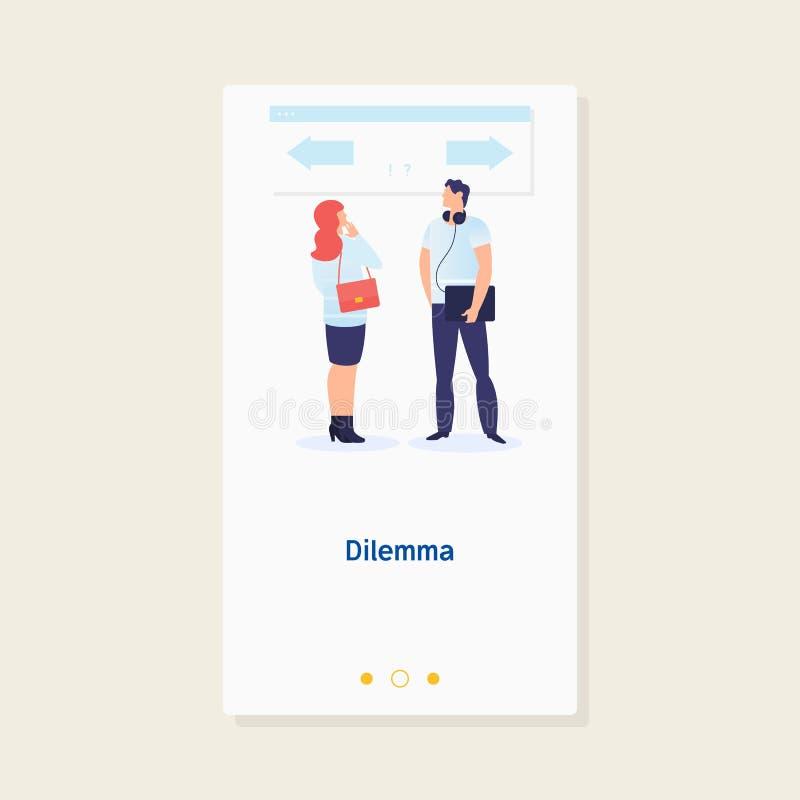 Dilemma van zakenman Het Concept van het Economisch besluit De zakenman verwart om de juiste directionConcept zaken te kiezen royalty-vrije illustratie
