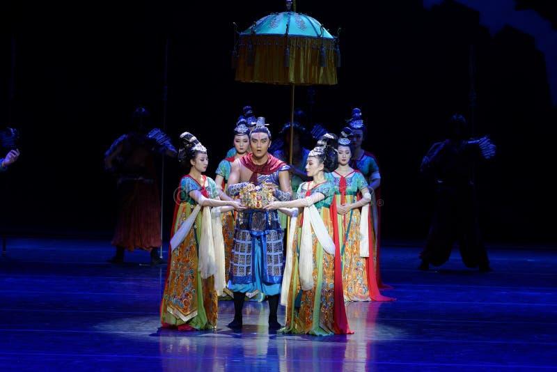 dilemma-vier handeling ` belemmerde inklaring ` - Epische de Zijdeprinses ` van het dansdrama ` stock afbeelding