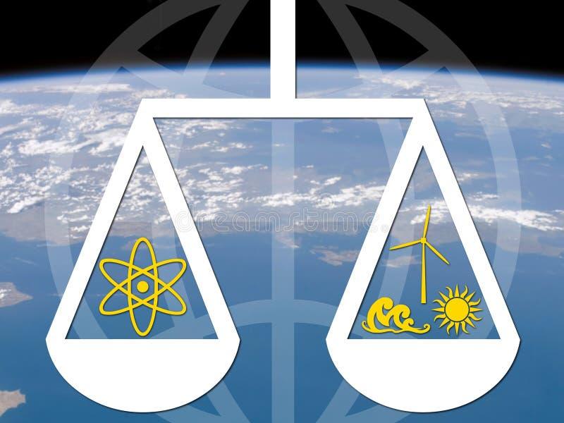 Dilemme d'énergie nucléaire illustration de vecteur
