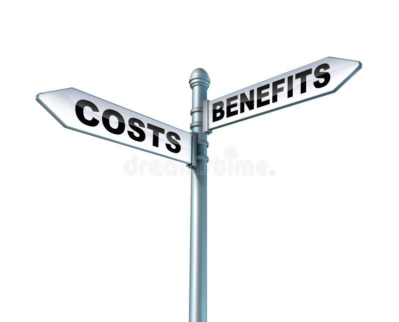 Dilemme d'avantages de coûts illustration stock