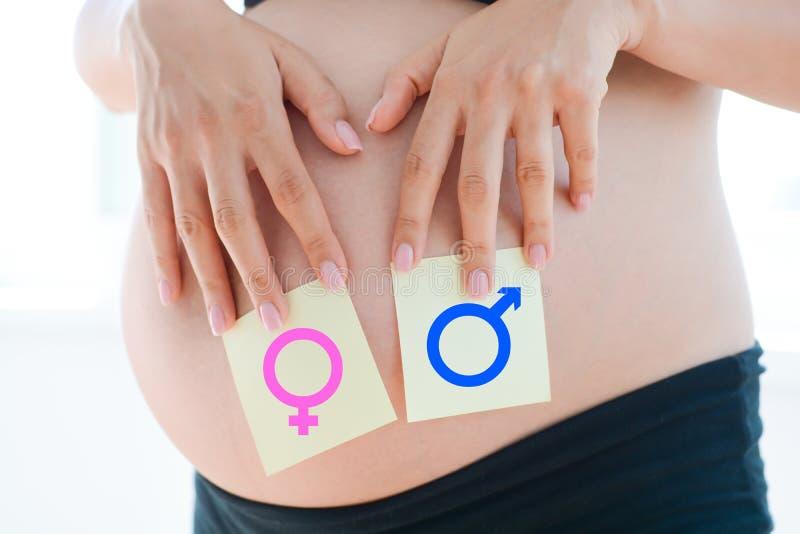 Dilemme de question de garçon ou de fille sur le ventre de grossesse image libre de droits
