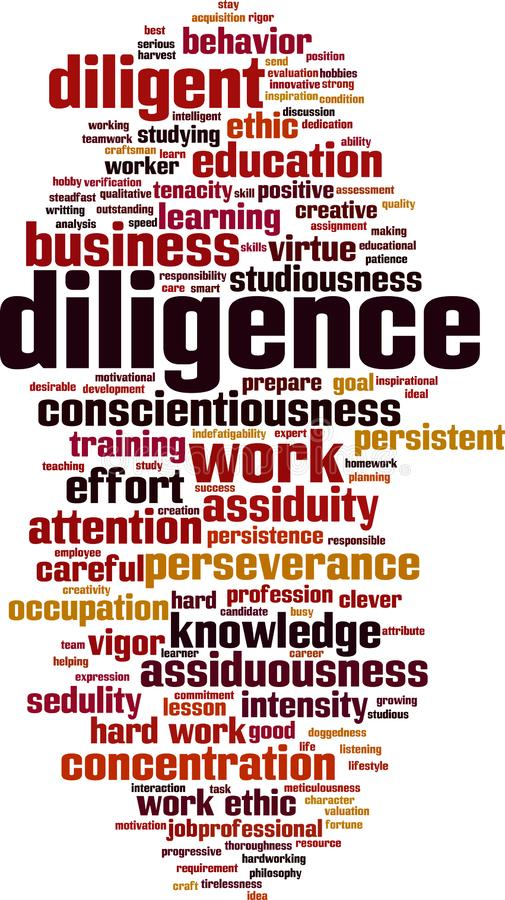 Diligence word cloud. Concept. Vector illustration royalty free illustration