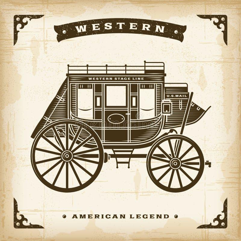 Diligencia occidental del vintage stock de ilustración