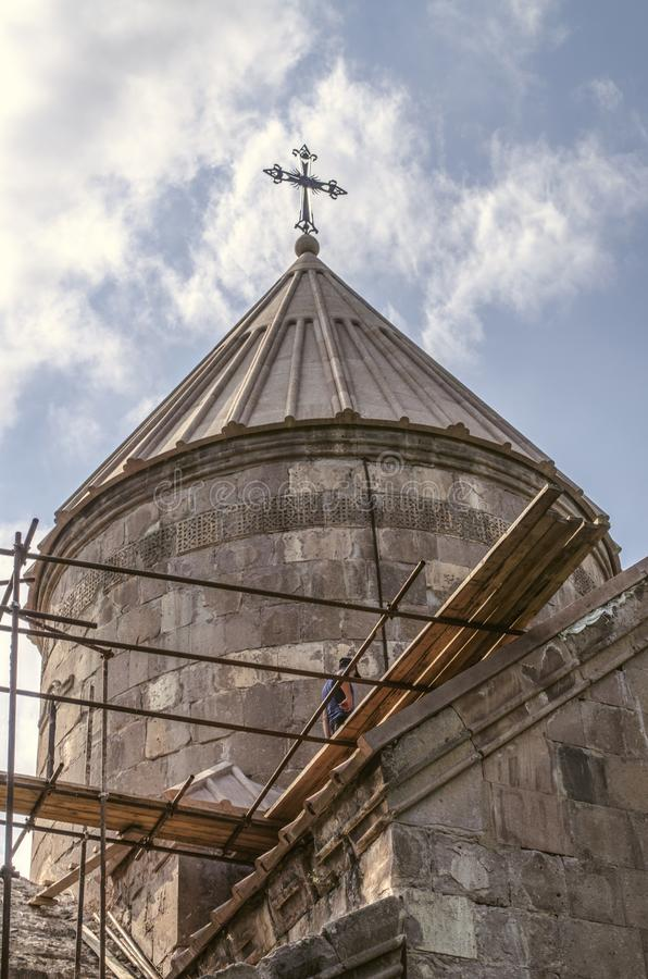 Restored umbrella dome the Church of the Blessed Virgin of the monastery of Goshavank,near the town of Dilijan royalty free stock photos