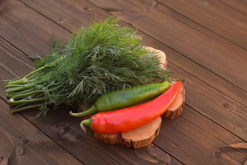 Dill green and hot pepper red and green on a wooden background w. Dill green and hot pepper red and green fresh fragrant rustic farmhouse on a wooden background stock image