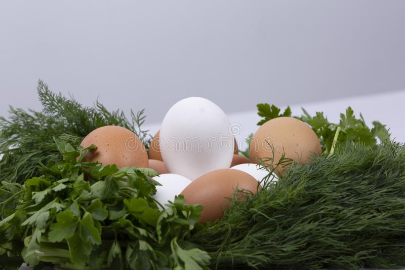 Dill parsley wreath with eggs royalty free stock photos