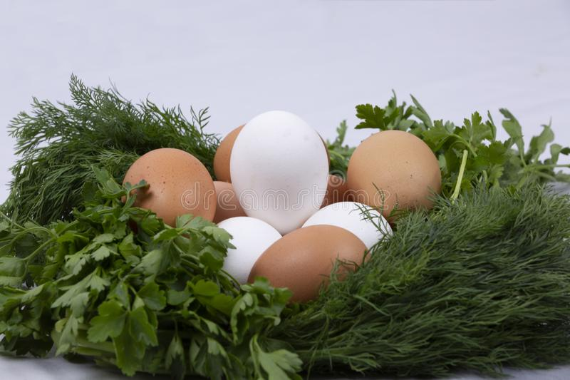 Dill parsley wreath with eggs royalty free stock photography
