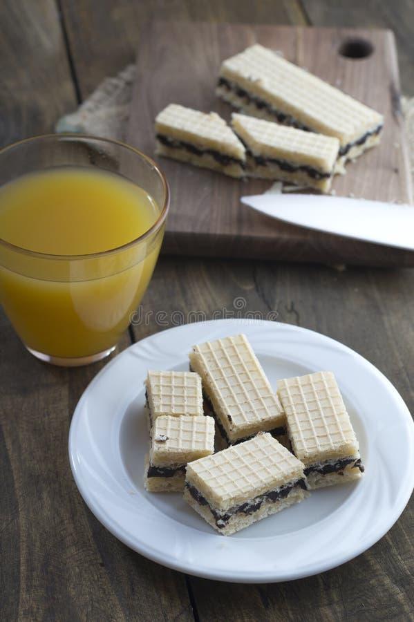 Dillandekaka med choklad och fruktsaft arkivfoton