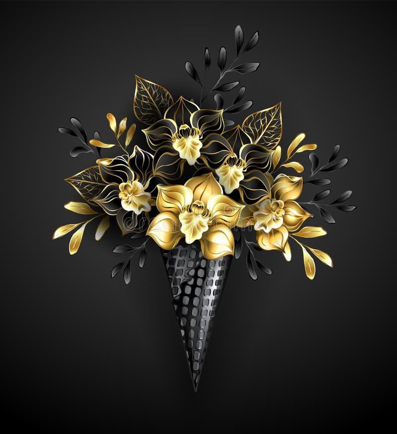 Dillandekottar med svarta orkidér vektor illustrationer