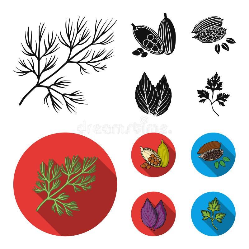 Dille, cacaobonen, basilicum Kruiden en kruiden geplaatst inzamelingspictogrammen in het zwarte, vlakke Web van de de voorraadill stock illustratie