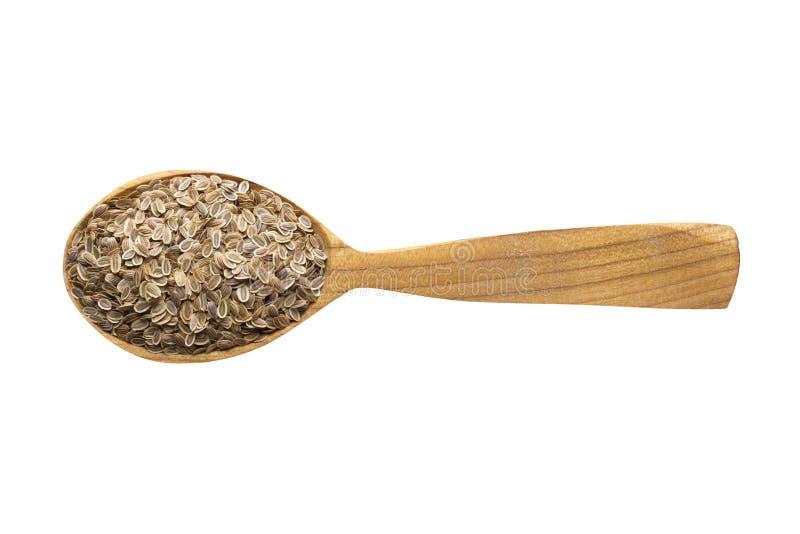 Dillezaad in houten die lepel op witte achtergrond wordt ge?soleerd kruid voor het koken van voedsel, hoogste mening stock foto's