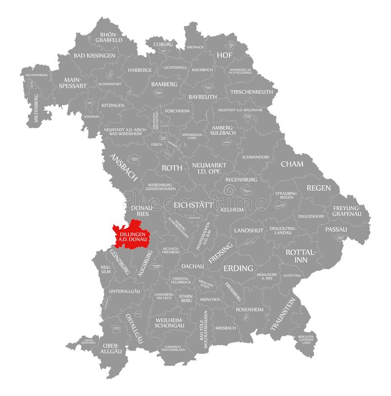 Dillingen dera Donau okręgu administracyjnego czerwień podkreślająca w mapie Bavaria Niemcy ilustracji