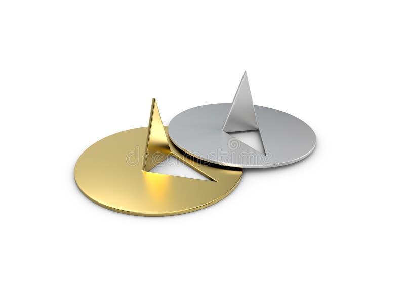 3DIllustration золотого и серебряного штыря нажима изолировало белизну иллюстрация вектора