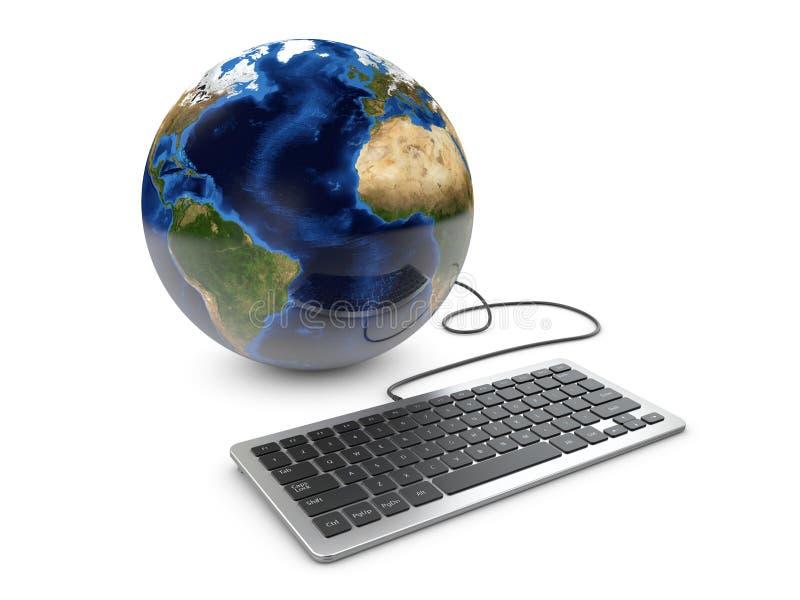 3dIllustration de globe de la terre lié au clavier d'ordinateur illustration libre de droits