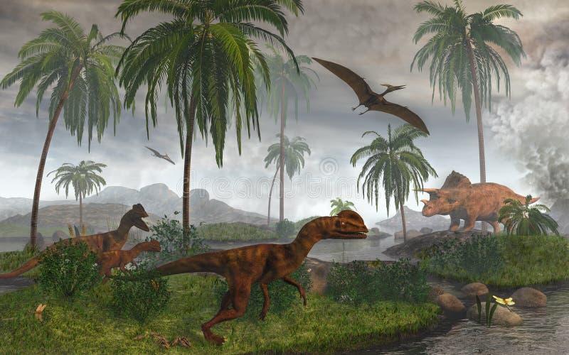 Dilophosaur no waterhole ilustração do vetor
