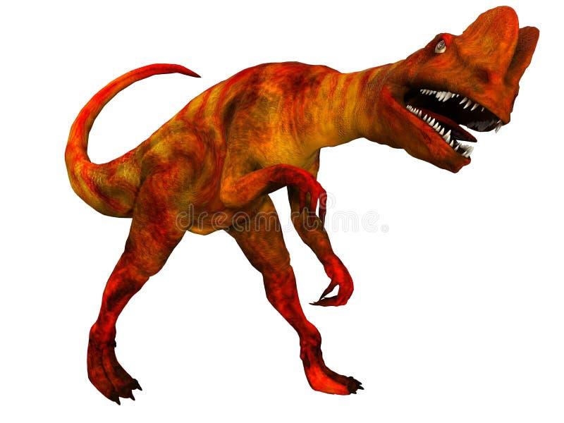 Dilophosaurus på vit stock illustrationer