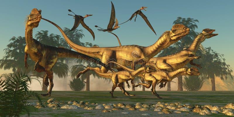 Dilophosaurusjakt vektor illustrationer