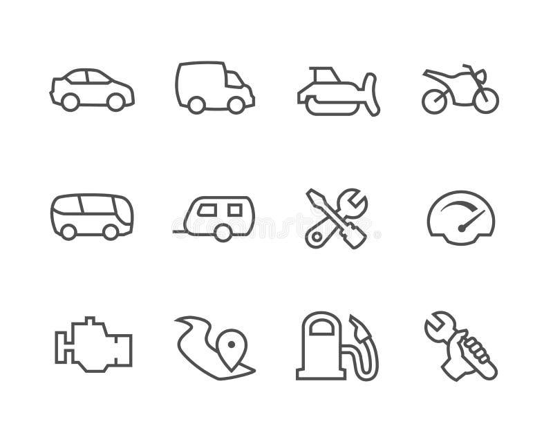 Dilua auto ícones alinhados ilustração do vetor