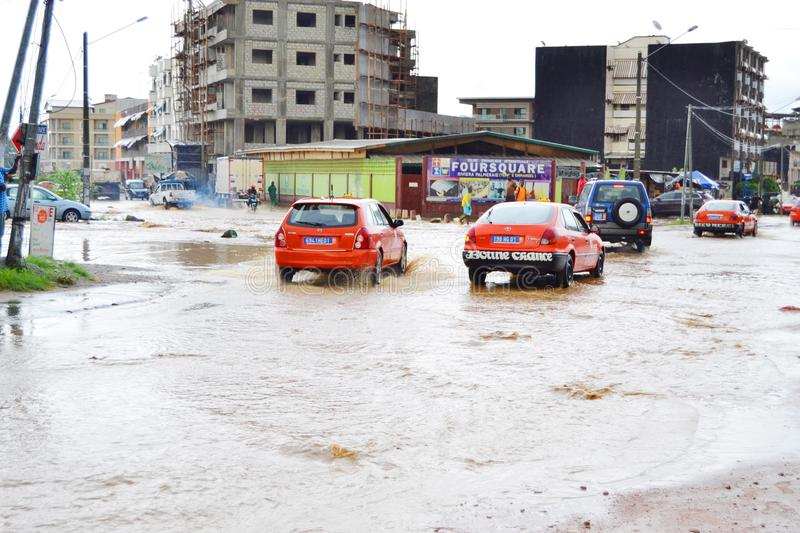 Diluvial rains: identified risk zones in Abidjan. The recent rains in the city of Abidjan have caused flooding, after which houses were abandoned because they royalty free stock photos