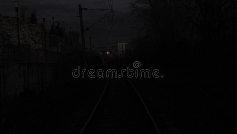 Dim. Lowlight, rail, sunset, reflection, outside, abstract, cantsee, funky, weird, strange, lowiso, orsova, vgphotoz, mehedinti, europe, unique, spirit royalty free stock photography