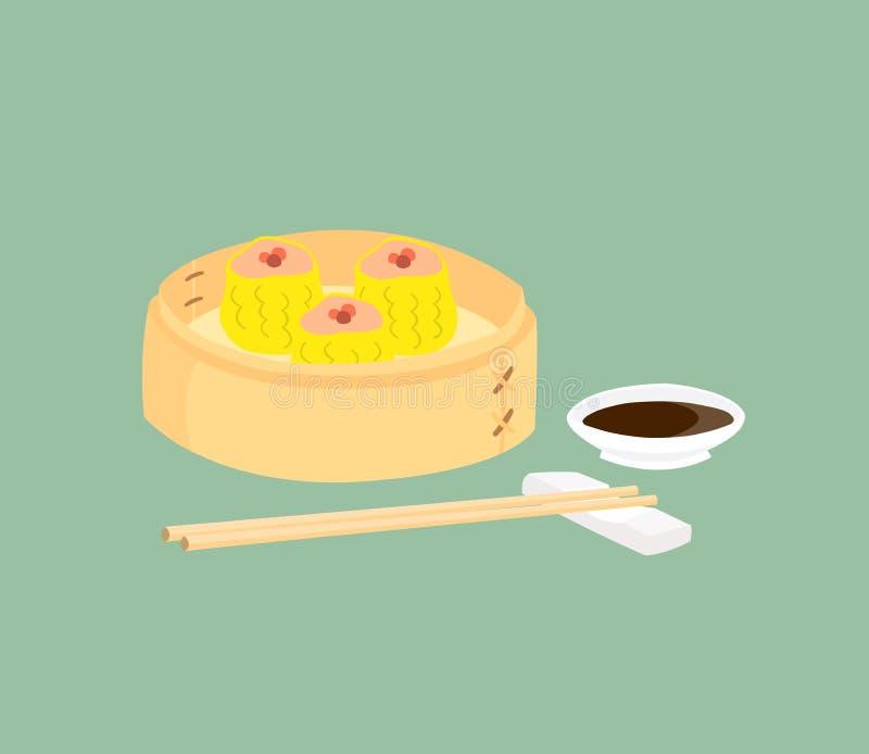 Dim sum in bamboemand met een kop saus en eetstokjes op de kant wordt geplaatst die royalty-vrije illustratie