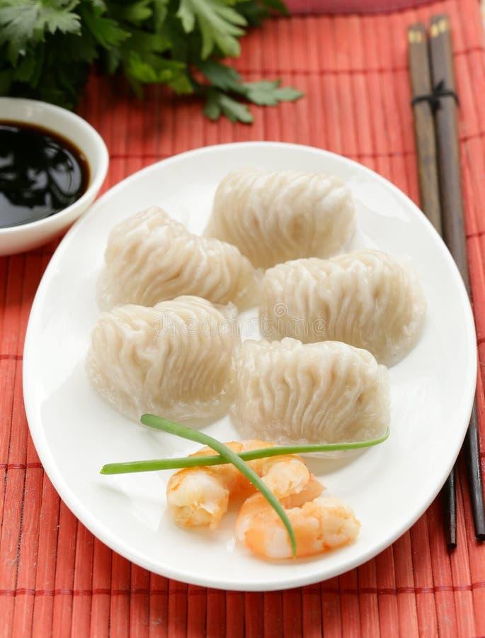 Dim sum cocido al vapor asiático de las bolas de masa hervida de la carne foto de archivo libre de regalías