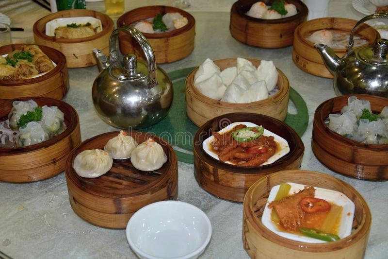 Dim sum, favorite style of cantonese cuisine. Dim sum is a style of Chinese cuisine, particularly Cantonese, prepared as small bite-size portions of food served royalty free stock photos