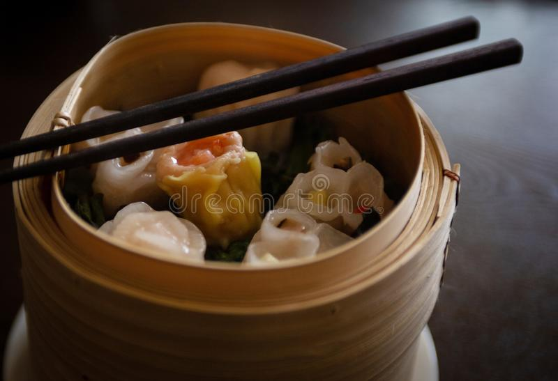 Dim Sum with Steamed Dumplings royalty free stock photo