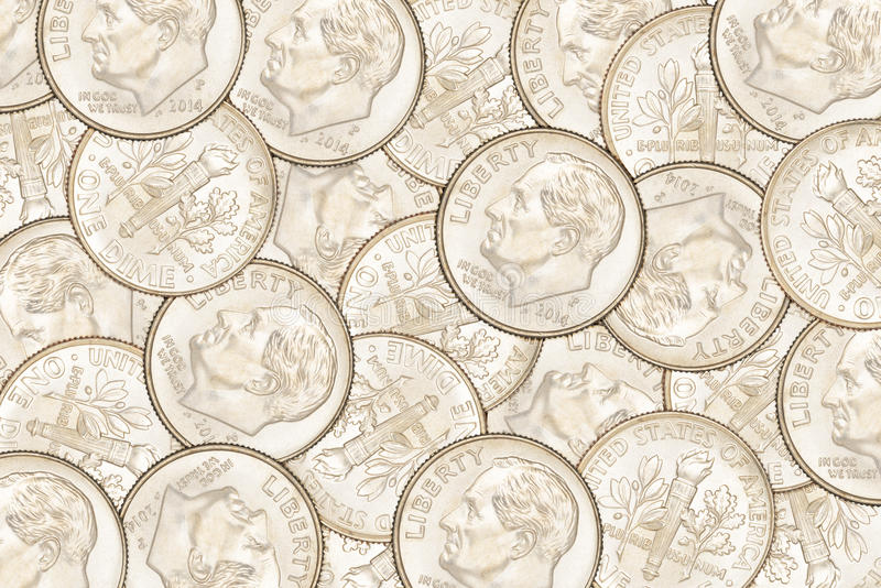 Dime coins background. Heap of ten US cent dime coins. Can be use as background stock photo