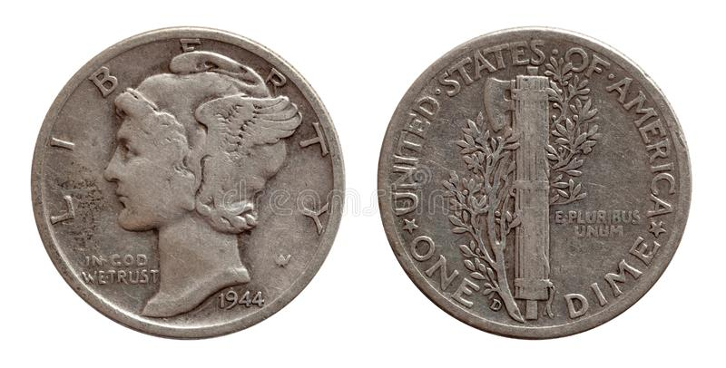 Dime ten cents US coin silver both sides isolated on white. Background stock images