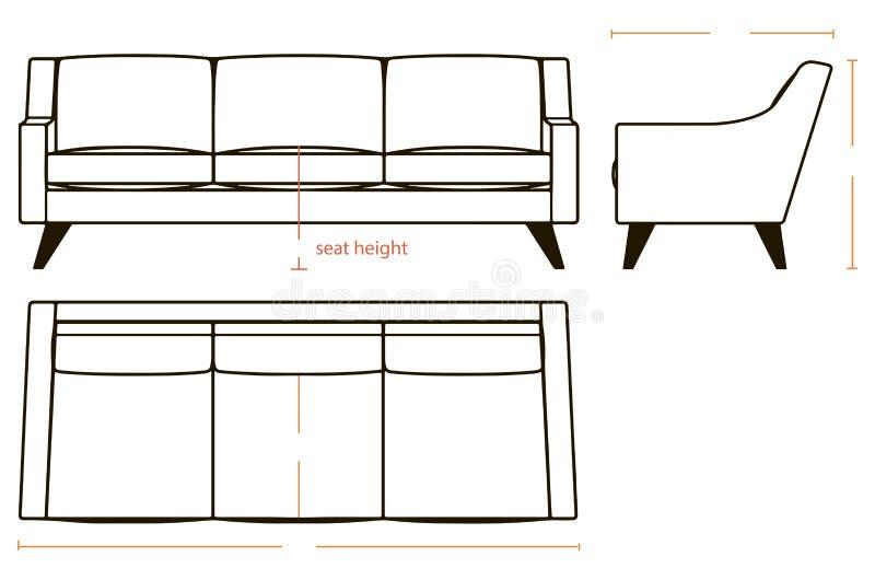 Dimensões básicas do sofá ilustração royalty free