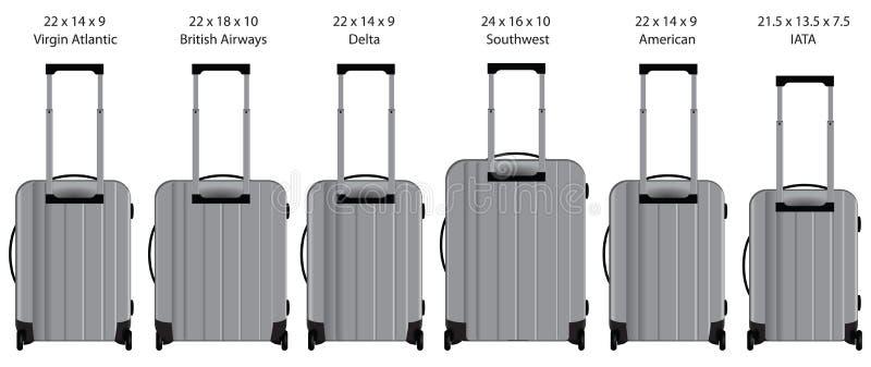 Dimensões da bagagem de mão tomadas pelas linhas aéreas ilustração stock