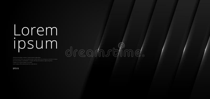 Dimensión de capa de solapamiento de capa negra en la web abstracta de plantilla con iluminación en el espacio de fondo oscuro de stock de ilustración