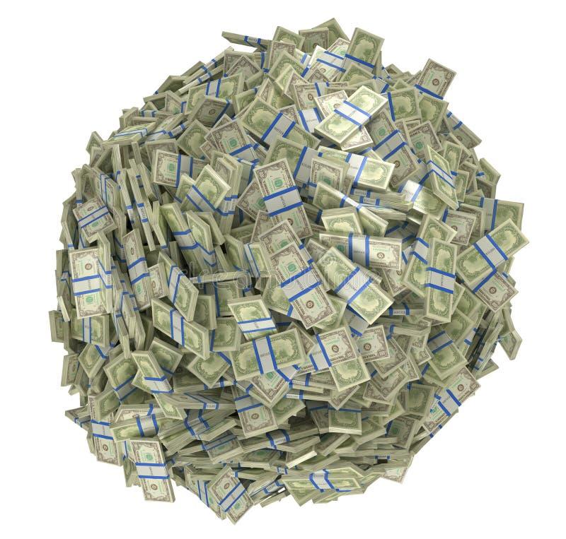 Dimensión de una variable de la esfera ensamblada de manojos de dólar americano libre illustration