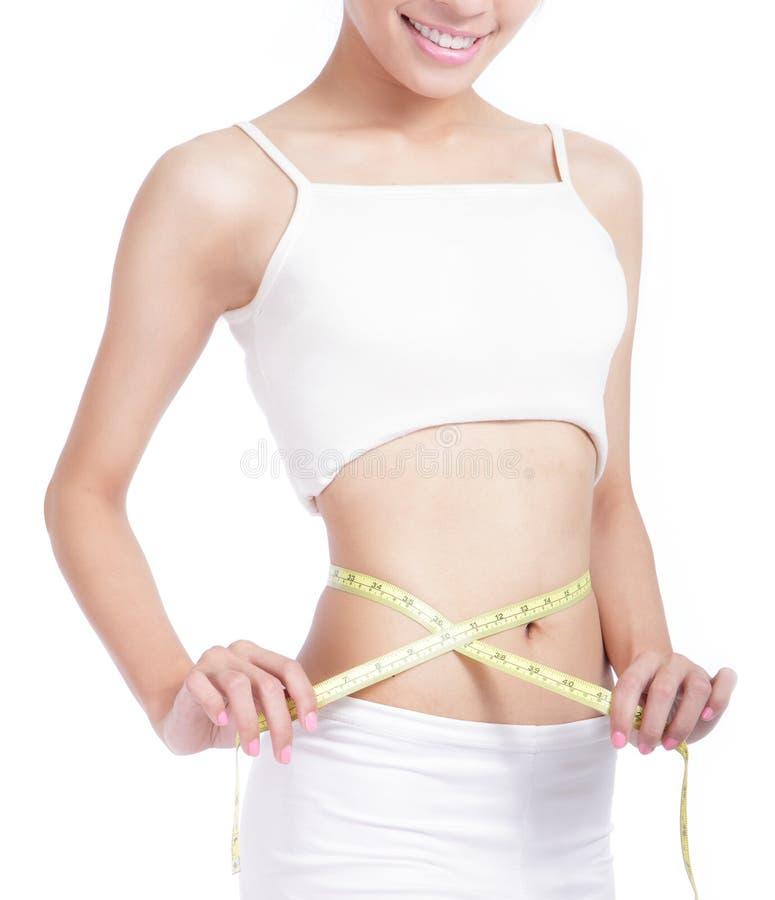 Dimensión de una variable de medición de la mujer de la cintura con sonrisa fotos de archivo