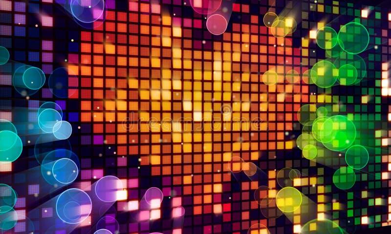 Dimensión de una variable del corazón del pixel en la pantalla digital y luces coloridas libre illustration