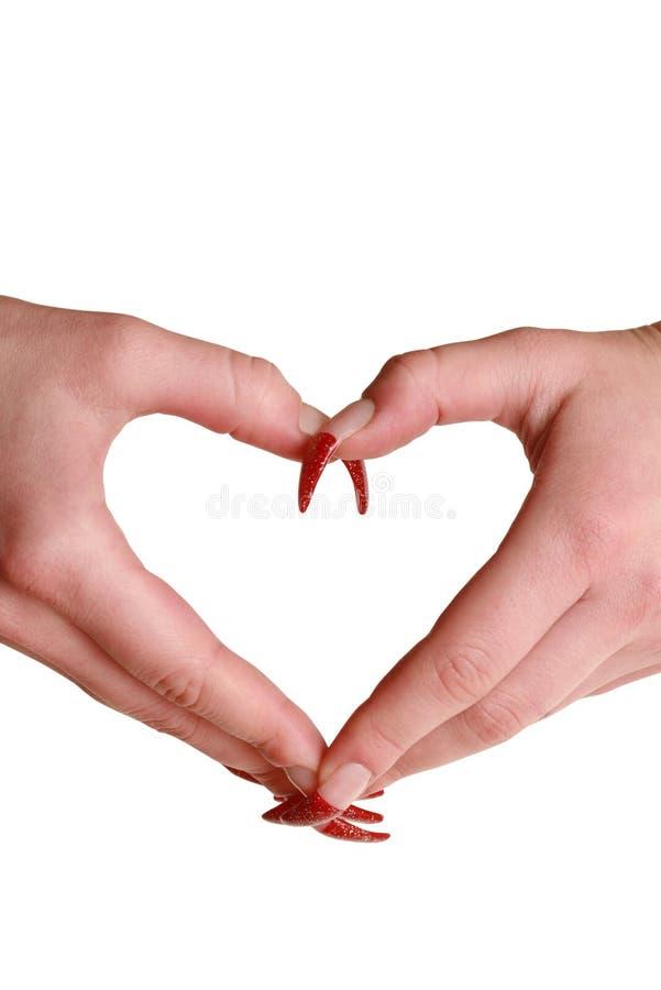 Dimensión de una variable del corazón hecha de dos palmas hermosas fotografía de archivo