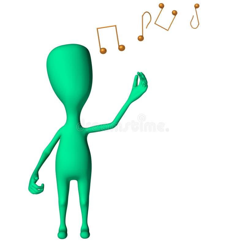 Dimensión de una variable extraña de la marioneta verde 3d mímica el canto stock de ilustración