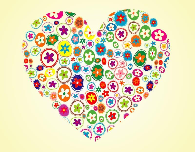 Forma floral del corazón stock de ilustración