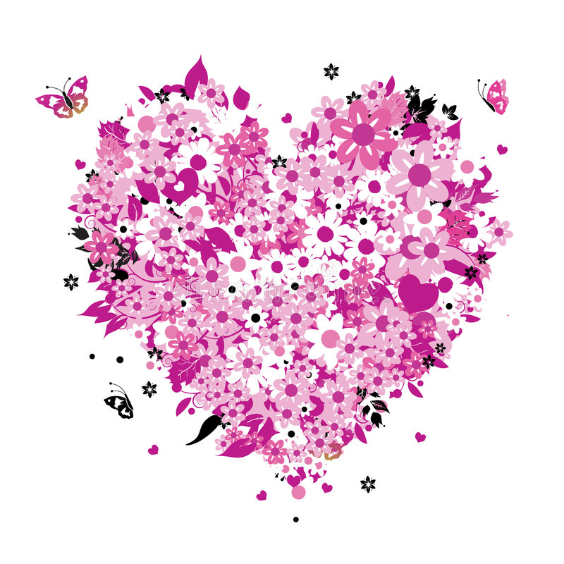 Dimensión de una variable floral del corazón para su diseño ilustración del vector
