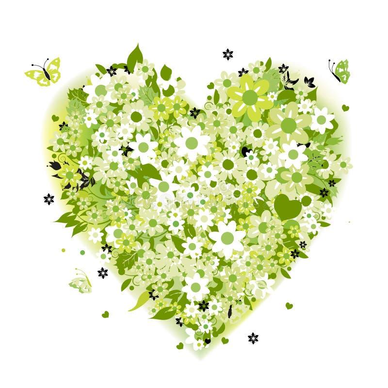 Dimensión de una variable floral del corazón, verde del verano libre illustration