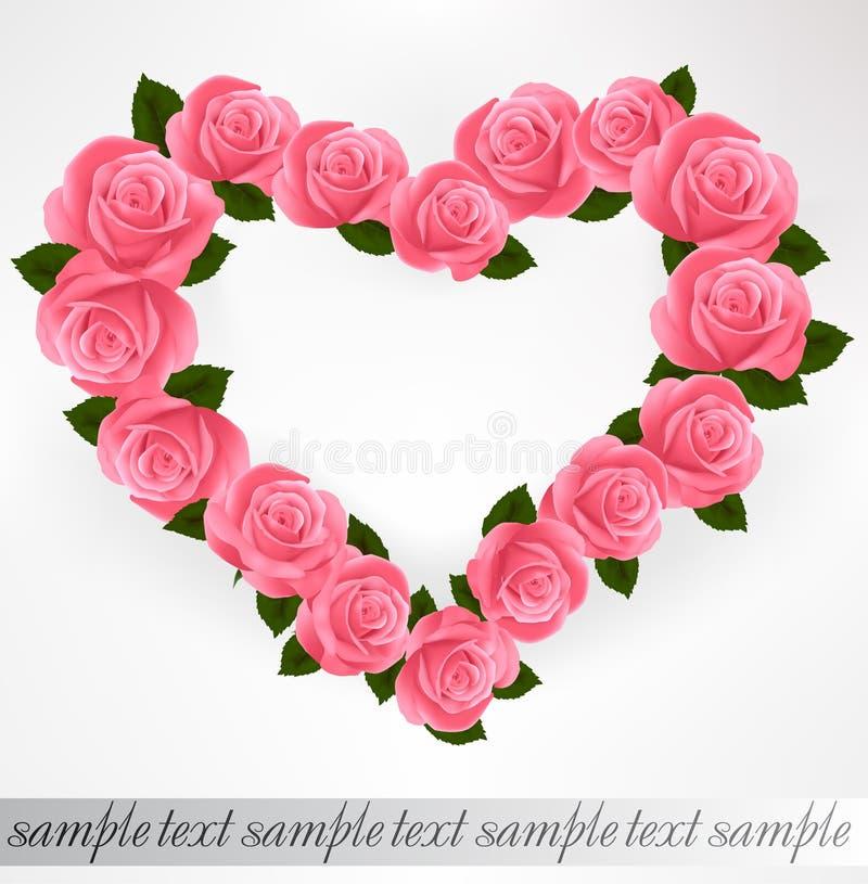 Dimensión de una variable rosada del corazón de las rosas. Vector libre illustration