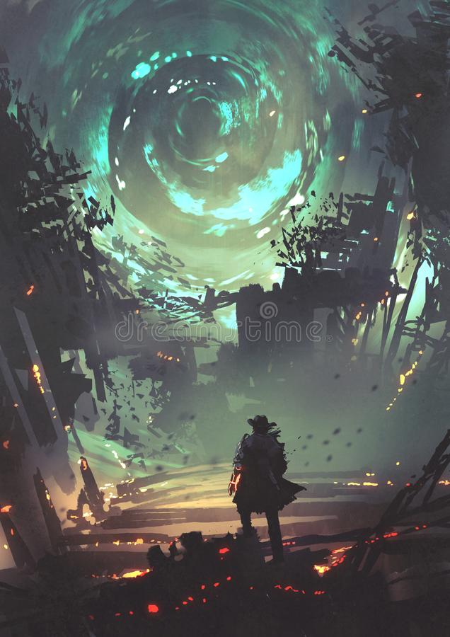 Dimension gate over the ruined city royalty free illustration