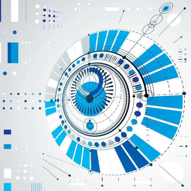 Dimensional abstract circular mechanical scheme, 3d technological pattern. vector illustration