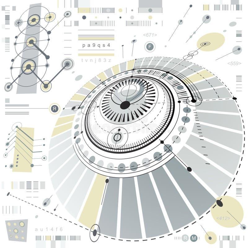 Dimensional abstrakcjonistyczny kółkowy machinalny plan, 3d technologica ilustracji