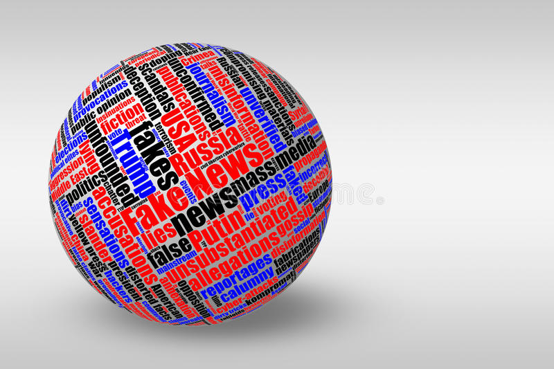 Dimensional 3D ball with fake news tag word cloud stock illustration