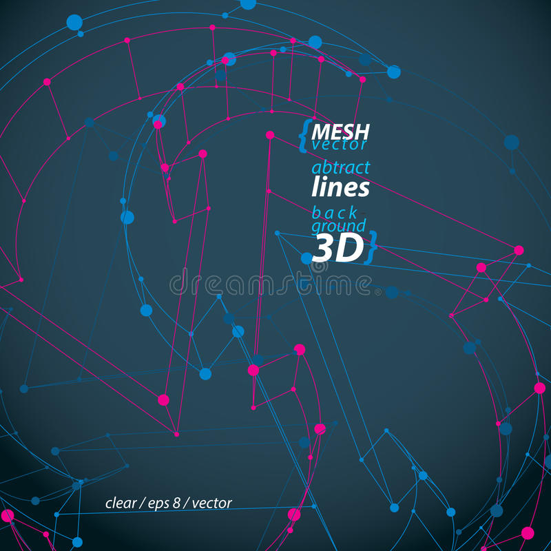 Dimensional elegant mesh loop sign, technical renew symbol isolated on black background, vector eps 8 object. stock illustration