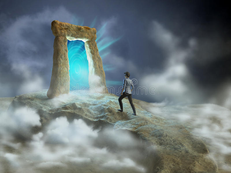 Dimensional gate. Ancient stone gate opening to another dimension. Digital illustration vector illustration